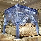 GLXQIJ 4 Eckpfosten-Bett-ÜBerdachung Moskitonetz-Kinderbett-ÜBerdachung, Romantische BettwäSche, 3 EinträGe, Mit Unterseite, Einfache Installation,Blue,1.8 * 2.2M