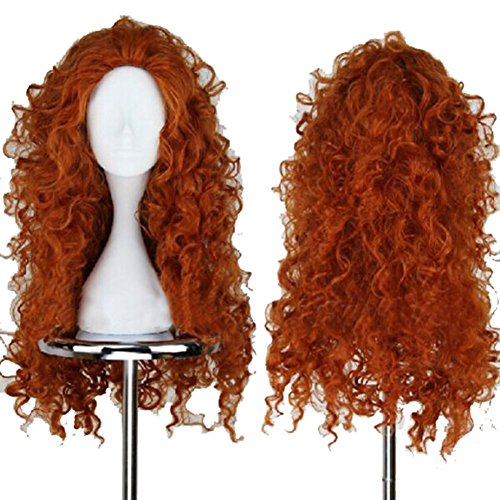 Xcoser Princess Merida Long Curly Perruque Disney Cosplay Costume Wig Dark Brown Wavy Cheveux For Girls
