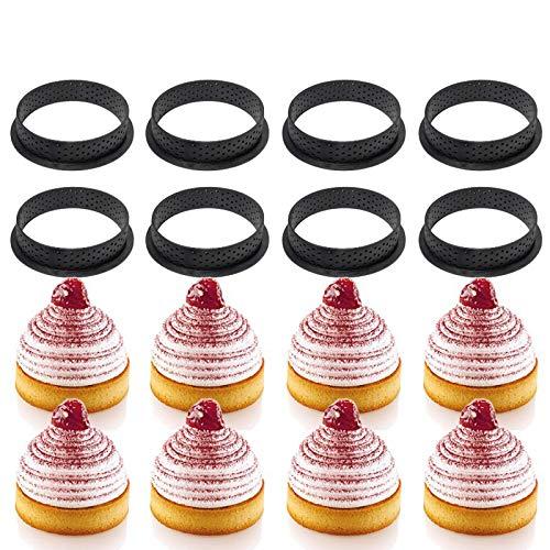 PoeHXtyy 8 stücke runde Form Mousse Kreis Cutter dekorieren Tool französisch Dessert DIY kuchenform perforierte Ring antihaft backformen Kuchen
