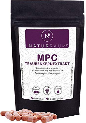 NaturRaum MPC Traubenkernextrakt I 60 Kapseln I Hochdosiert 530 mg I 35 mal bioverfügbarer als OPC I Premium Qualität aus Frankreich I Ohne unerwünschte Zusatzstoffe I Vegan