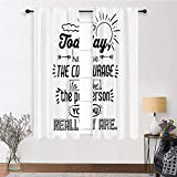 Living Room Curtain Inspirational Window Drapes Curtain Positive Words Theme Encouragement Quotes Motivational Design Print Kids Blackout Curtains for Bedroom 2 Rod Pocket Panels, 27'W x 45'L