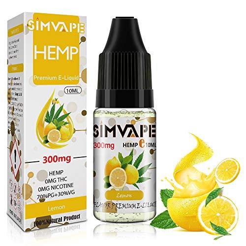 SIMVAPE CBD E liquid 300mg,Hemp Öl Vape liquid 10ml,Hanf Öl für E Zigarette Starter Set/SMOK/E Shisha, PG70/VG30 Eliquid, ohne Nikotin, ohne THC (Zitrone)