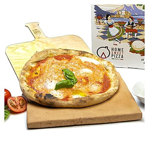 RPRRBE Piedra refractaria para pizza de hornos domésticos con pala de madera de ladrillo refractario para barbacoa, galleta refractaria para horno eléctrico
