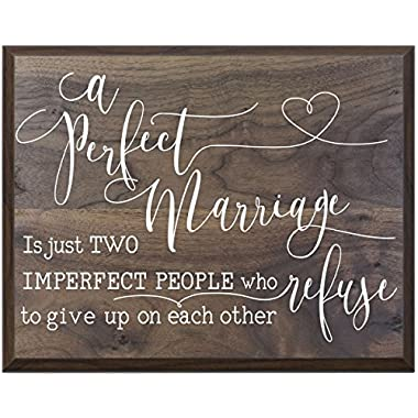 A Perfect Marriage Family wedding anniversary Housewarming Gift for husband wife Parents, New Home Christian gift ideas 12 Inches w X 15 Inches By LifeSong Milestones (Walnut)