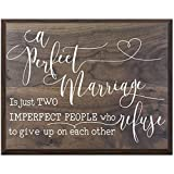 LifeSong Milestones A Perfect Marriage Family wedding anniversary Housewarming Gift for husband wife Parents, New Home Christian gift ideas 12 Inches w X 15 Inches (Walnut)