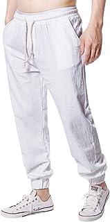 Annystore Mens Linen Cotton Elastic Waist Lounge Pajama Yoga Pants Fashion Loose Fit Jogger Pants