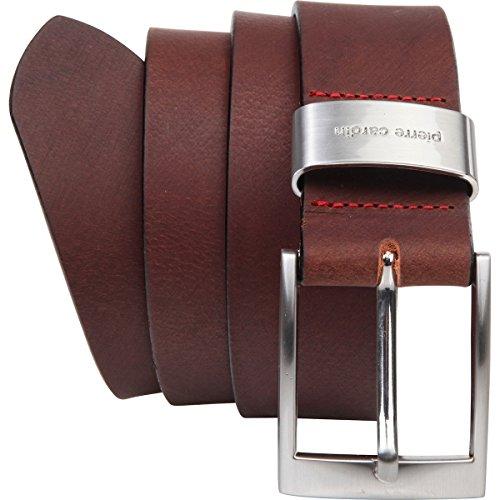Pierre Cardin - Cinturón de hombre de auténtica piel de búfalo de 4mm, para pantalón vaquero, talla XXL, negro/marrón marrón 95