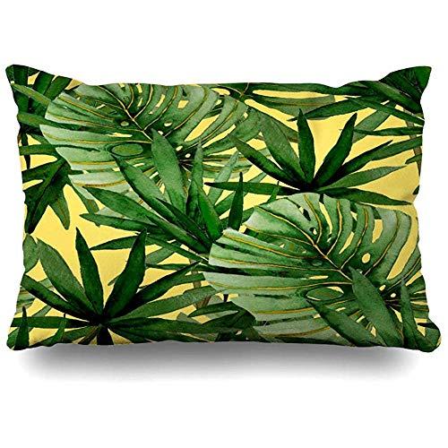 WHEYT Funda de Almohada de Tiro 55X55 Cm Acuarela Paradise Print Pattern Botánico Tropical Textil Hojas Palmas Naturaleza Hermoso jardín Funda de cojín