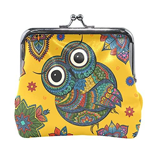 Bolsa de cambio para mujer con diseño de búhos pintados con animales para mujer con cierre de beso para mujeres y niñas de 4.5 x 4.1 pulgadas