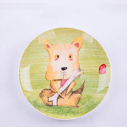 XAGB Plato de Fruta de cerámica Creativa de los niños de la Historieta, Platos Occidentales de la Placa de Postre Plato Occidental de los niños (Color : Dog)