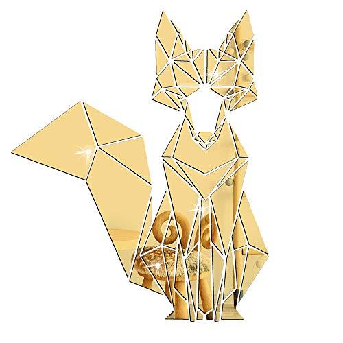 KTTO Adesivo da Parete a Specchio Fox Adesivo da Parete a Specchio 3D Decorazione Domestica Adatto...