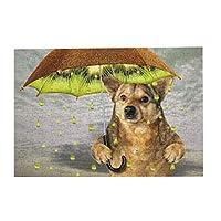 300ピース ジグソーパズル パズル 犬はキウイフルーツの傘の下にいます。 雨が降っている。 雨滴の代わりにジュース滴 (26 X 38cm)