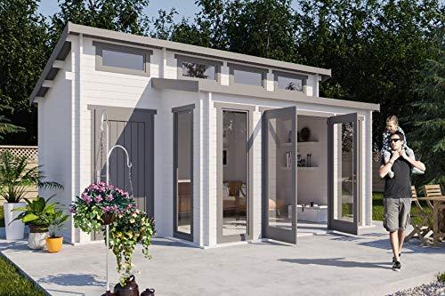 CARLSSON Alpholz Gartenhaus Lausitz-40 aus Massiv-Holz | Gerätehaus mit 40 mm Wandstärke | Garten Holzhaus inklusive Montagematerial | Geräteschuppen Größe: 570 x 420 cm | Pultdach