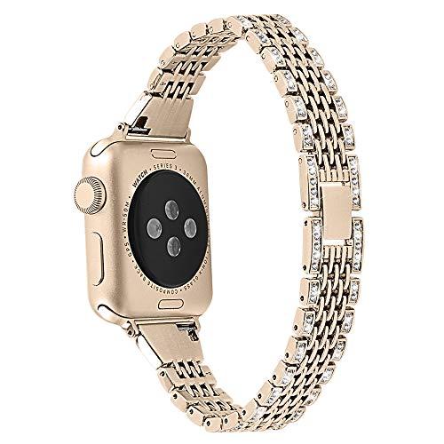 QINJIE Correa Compatible con Apple Watch 1/2/3/4, Pulsera de Metal de Acero Inoxidable con Diamantes de imitación, reemplazo de Pulsera, para Hombre y Mujer,Vintage Gold,42mm