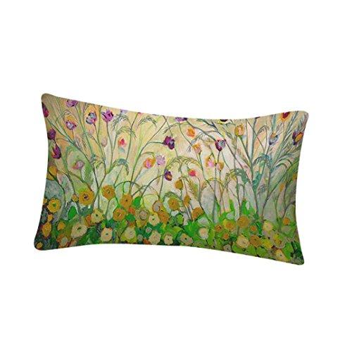 Bokeley Pillow Case, Cotton Linen Rectangle Flowers Birds Print Decorative Throw Pillow Case Bed Home Decor Cushion Cover (C)