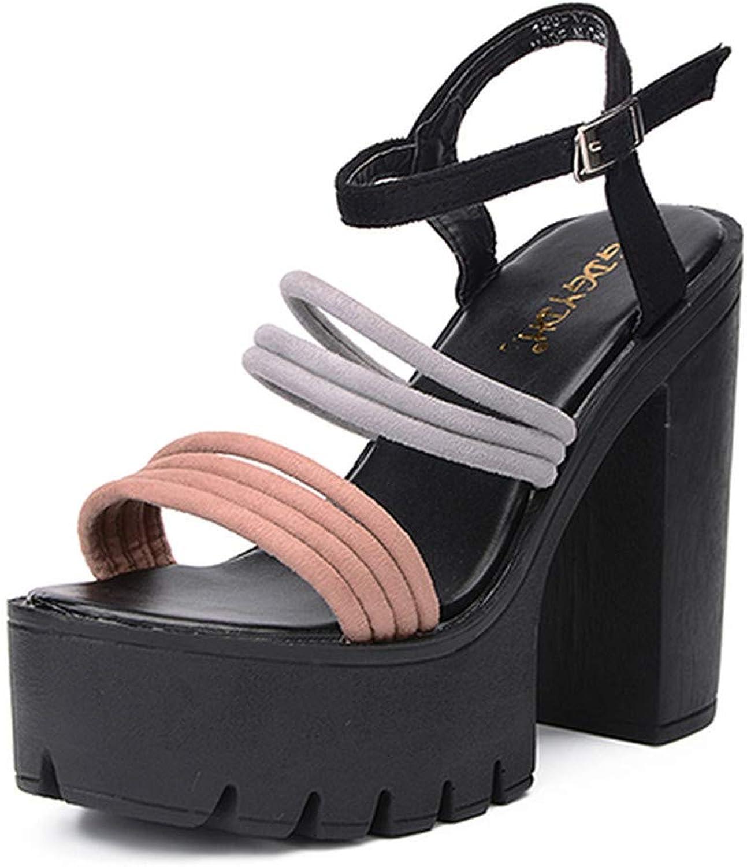 GAO-GEN1 colorful Women Sandals Summer Open Toe Platform shoes Ankle Strap Buckle High Heels