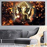 Pintura al óleo Póster lienzo pintura India Señor elefante religión Goden Buda pintura pared arte cuadros para sala de estar Cuadros decoración del hogar 60x90cm