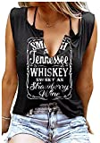 Smooth As Tennessee Whiskey Sweet As Strawberry Wine Shirt Ring Hole Sleeveless V-Neck Tank Top Womens Country Music Tee (Black, Medium)