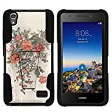 Compatible with Huawei Pronto LTE Case | H891L | SnapTo G620 [Gel Max] Dual Layer Hybrid Rubber Layer Case Custom Hard Shell Kickstand by TurtleArmor - Elegant Roses