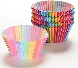 Washranp 100 STKS Cupcake Gevallen, Taart Papieren Beker Regenboog Bakken Cups, Kleurrijke Regenboog Papieren Taart Cupcak...