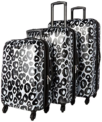 American Tourister Moonlight Hardside Expandable Luggage with Spinner Wheels, Leopard Black, 3-Piece Set (21/24/28)