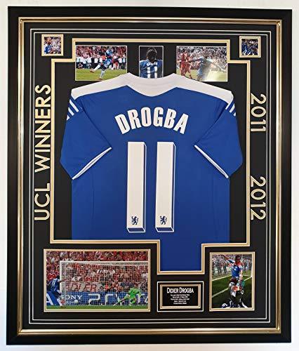 Foto von Didier Drogba of Chelsea, signiert mit Trikot-Display 2012 Champions League
