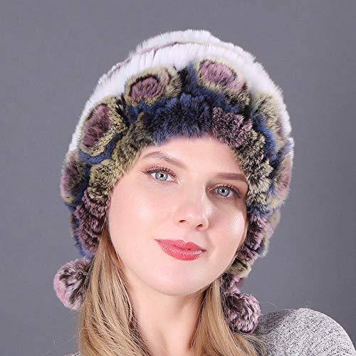 Xme Warme, gepolsterte Ohrenschützer, Rex-Kaninchenfellmütze, runde Herbst- und Wintermütze