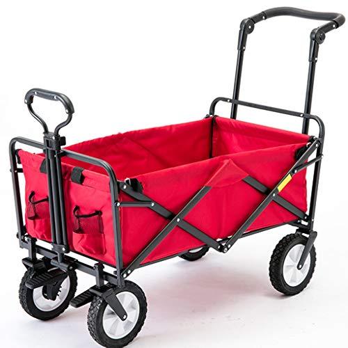 Handwagen Wagen Roter Handhabungswagen Tragbarer Haushaltswagen Einkaufswagen Kinder Faltwagen 4 Räder Anhänger Shopping (Color : Red, Size : 50 * 20 * 75cm)