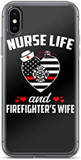 Compatible for iPhone XR Nurse Life and Firefighter's Wife Inspirational Quote Heart Shape