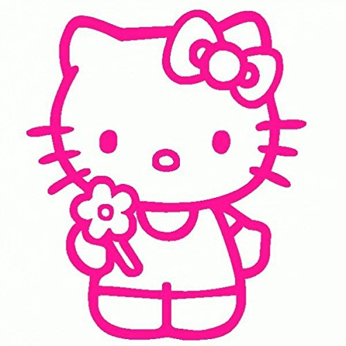 Hello Kitty-Pegatinas Prespaziato-- 10 cm, color Fucsia: Amazon.es: Coche y moto