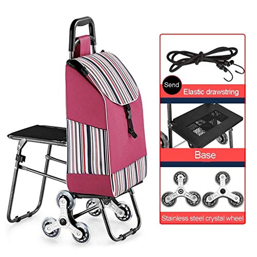 Achat Trolley Chariot Trolley panier à roulettes pliable 35 kg Rouge//Noir