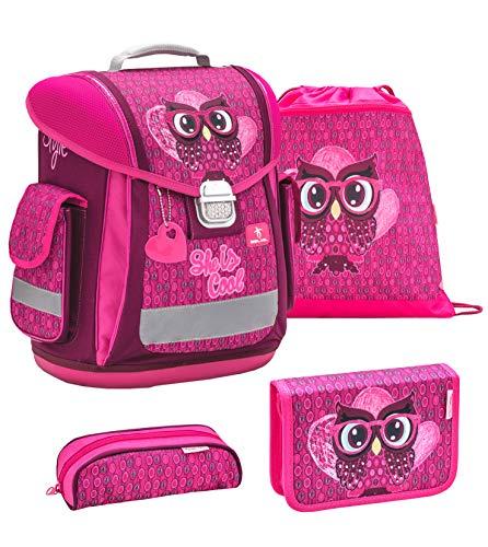 Belmil ergonomischer Schulranzen Groß Set 4-teilig für Mädchen 1, 2, 3, Klasse/Leicht: 950-1000 g/Eule, Owl/Pink, Rosa (404-5 She is Cool)