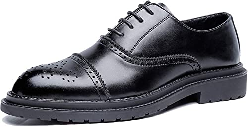 SRY-Chaussures de Mode Simple Affaires Oxford Décontracté Mode Classique Brosse Rétro Chaussures Brogue pour Hommes (Couleur   Noir, Taille   40 EU)