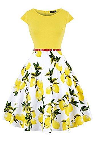 MisShow Damen Abschlussballkleid Rockabilly Retro Kleider Pin up Sommerkleider Zitrone Gelb XL