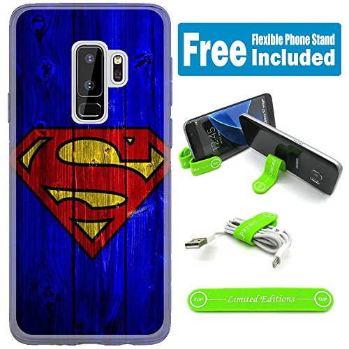 [Ashley Cases] for Samsung Galaxy S9 Cover Case Skin with Flexible Phone Stand - Superman Wood Blue