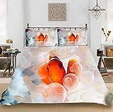 Impressive 3D Goldfisch Bettwäsche Set Fashion Boy Goldfisch Daunen Bettbezug Komplette Große King Size Bettbezug Kissenbezug 220X240cm-220x240cm