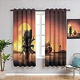 weilan1999 Cortinas opacas con aislamiento térmico para decoración del hogar, diseño de Star Wars para dormitorio de niñas, 160 x 182 cm