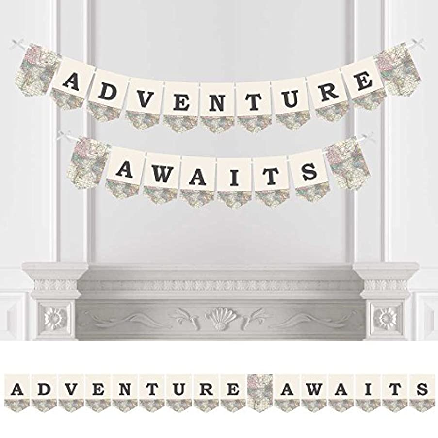 Big Dot of Happiness World Awaits - Travel Themed Party Bunting Banner - Map Party Decorations - Adventure Awaits