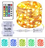 Fairy Lights USB & Battery Operated Copper Wire String Lights, Qoolife 16.4FT 50 LEDs Waterproof 16 Color Changing Twinkle Lights with Remote Control for Indoor Outdoor Party Bedroom Wedding