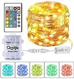 Qoolife Lichterketten USB- und batteriebetriebene Kupferdraht-Lichterketten, 16,4 ft 50 LEDs Wasserdicht 16 Farben