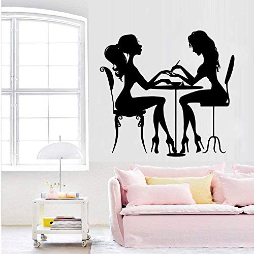 Autocollant Mural Sticker Nail Salon Détachable Vinyle Wall Art Deco Nail Salon Decal Décorer Noir 30Cm X 31Cm