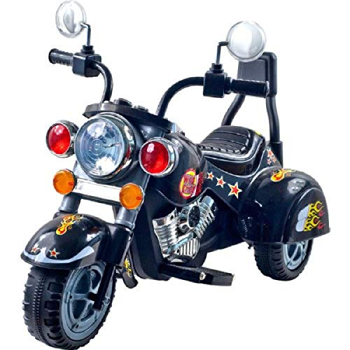 Kids Motorcycle Ride On Toy – 3-Wheel Chopper with Reverse and Headlights - Battery Powered Motorbike for Kids 3 and Up by Lil' Rider (Black)