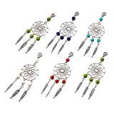 Kissity 30-Pieces Handmade Dangling Dream Catcher Charm Pendants Mixed Color 90mm Filigree Ethnic Ornament Keyring Jewelry Making