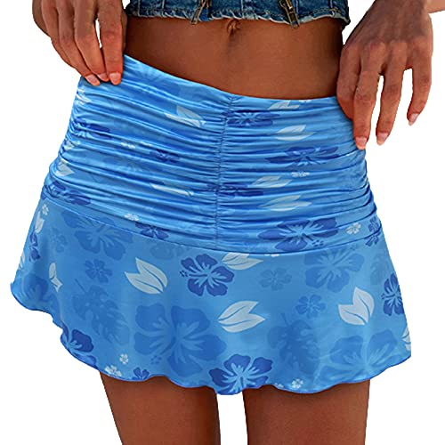 SSLLM Damen Rock Mode Drucken Minirock Sommerrock Hohe Taille Blumen Wickelrock A-Line Röcke Sexy Y2K Kurze Kleider Bleistiftrock für Mädchen Teenager Streetwear Beachwear