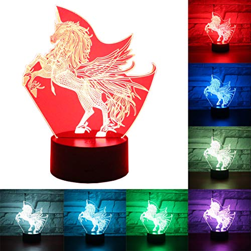Hguangs Night Light for Kids Unicorn 3D Optical Illusion Night Light 7 Colors Changing Touch Control Gift Christmas Birthday Valentine#039s Day Children