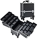 Joligrace Rolling Makeup Case with Wheels Professional Cosmetology Large Train Case Wheeled Cosmetic Trunk with 8 Divided Trays for Makeup Artist, Hair Stylish or Home Use - Black