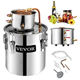 VEVOR Moonshine Still 5 Gal 21L Stainless Steel Water Alcohol Distiller Copper Tube Home Brewing Kit Build-in Thermometer for DIY Whisky Wine Brandy, 5Gal, Silver