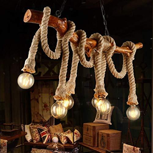 NYDZ Vintage Lámparas de madera industrial 6 luces Lámparas Rope Loft Rústico Luz de techo del interior Retro Iluminación (no incluye bombillas)
