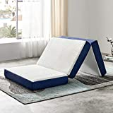 JINGWEI Folding Mattress, Tri-fold Memory Foam Mattress Topper with Washable Cover, 6-Inch, Twin XL Size, Play Mat, Foldable Bed, Guest beds, Camp Portable Bed, 38' 78' 6'