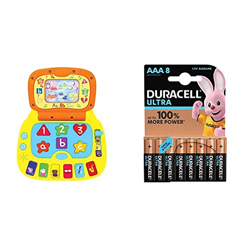 Peppa Pig PP02 Laugh and Learn Laptop Electronic Toy with Duracell Ultra Power AAA Batteries, Pack of 8
